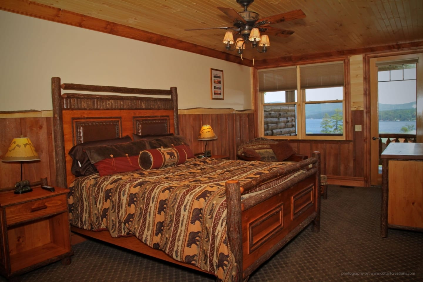 Bedroom in Oak Tree Lodge.