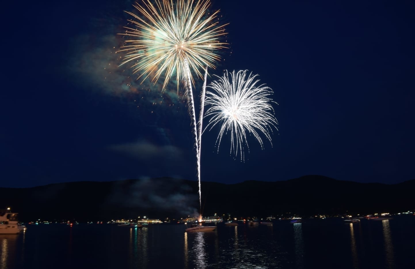 Fireworks over Lake George.