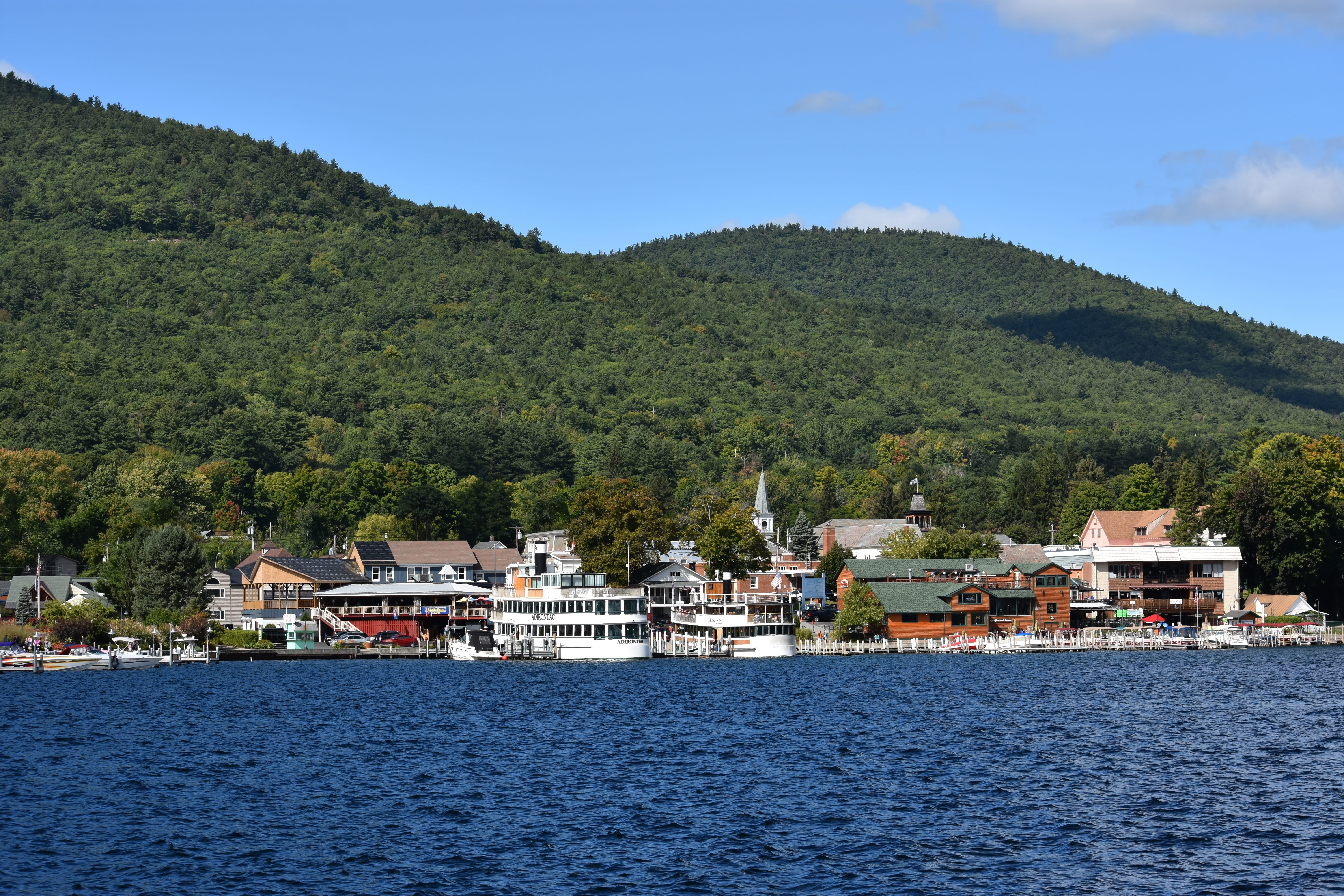 Waterside town on Lake George.